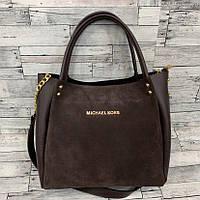 Женская замшевая сумка мини - шоппер (коричневый), фото 1