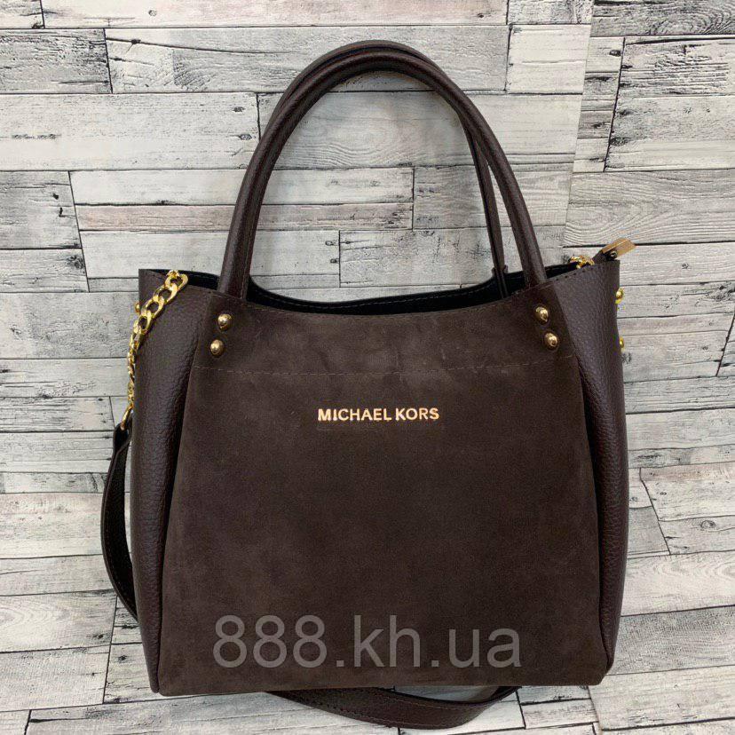 Женская замшевая сумка мини - шоппер (коричневый)