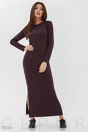 Демисезонное платье макси по фигуре цвет шоколадный, фото 2