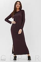 Демисезонное платье макси по фигуре цвет шоколадный