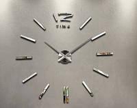 """Часы клеятся на стену 3D """"DIY"""" от 50 до 70 см цвет серебро (ZH522-S)"""