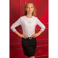 Трикотажная белая школьная блузка для девочки подростка