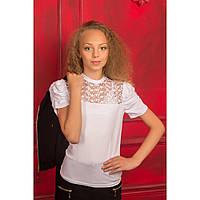 Белая школьная блуза с гипюром для девочки