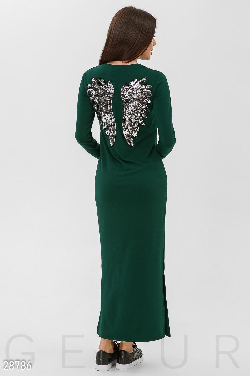 """Осеннее платье с большой аппликацией """"крылья"""" из пайеток на спинке цвет зеленый"""