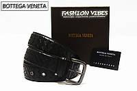 Кожаный ремень черный узкий Bottega Veneta Intrecciato VN leather