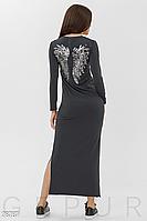 Повседневное демисезонное платье по фигуре длина макси цвет серый