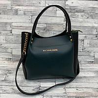Женская сумка мини - шоппер Michael Kors (в стиле Майкл Корс)  (черный/зеленый), фото 1
