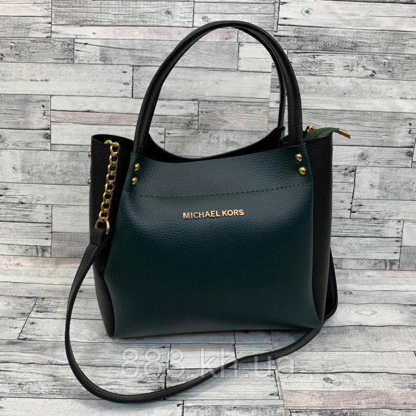 Женская сумка мини - шоппер Michael Kors (в стиле Майкл Корс)  (черный/зеленый)