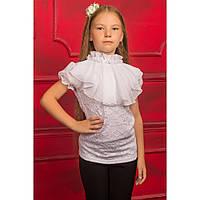 Ажурная белая блуза с коротким рукавом для девочки подростка