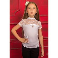 Белая гипюровая блуза с коротким рукавом для девочки подростка