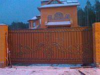 Ворота откатные кованые из профнастила