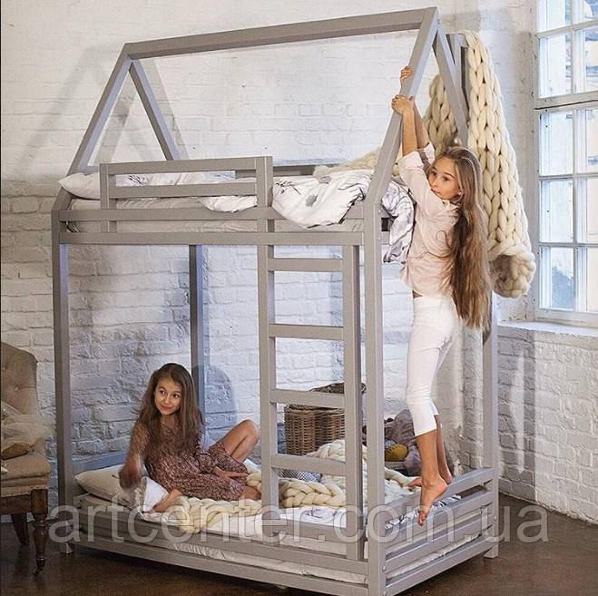 Двухэтажная кроватка-домик с бортиками, напольная