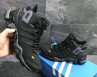 Кроссовки Adidas Terrex 465 Black Gray черные зимние с мехом реплика