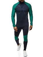 Спортивный костюм мужской для тренировки 509-3 зеленый для тренажерного зала фитнеса