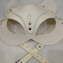 Белая маска кошки портупея на лицо из эко кожи кошечка