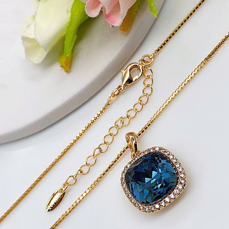 Кулон с цепочкой SWAROVSKI  40/45 см Синий, медицинское золото позолота 18К. А/В 4175