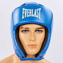 Шолом боксерський відкритий з посиленим захистом верхівки PU ELAST BO-8268-BL, фото 2