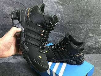 Кроссовки Adidas Terrex 465 Black Orange черные зимние с мехом реплика