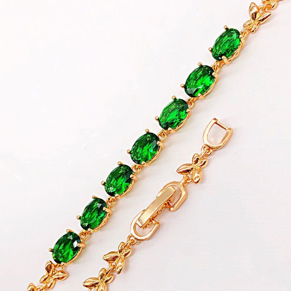 """Браслет Xuping Jewelry 18/20 см х 5 мм """"Бриллиантик"""" зеленые камни, медицинское золото, позолота 18К. А/В 4179"""