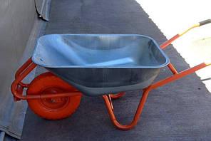 Тачка строительная 90л/180кг Одноколесная Полиуретановое  колесо 400 мм, фото 2