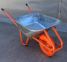 Тачка строительная 90л/180кг Одноколесная Полиуретановое  колесо 400 мм, фото 3