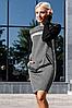 Осеннее теплое платье на каждый день миди и двумя прорезными карманами спереди цвет красно-черный, фото 2