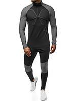 Спортивный костюм мужской для тренажерного зала 509-2 серый для тренировки фитнеса