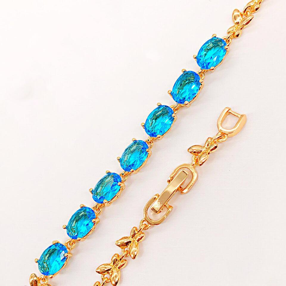 """Браслет Xuping Jewelry 18/20 см х 5 мм """"Бриллиантик"""" камни аквамарин, медицинское золото, позолота 18К. А/В 4182"""