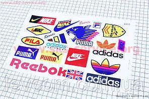 """Наклейки на планшеті """"Nike Reebok, adidas PUMA"""" набір 17шт 28х18"""