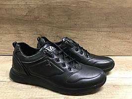 Чёрные мужские кроссовки из натуральной кожи ТМ EXTREM 2342/05.1