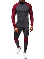 Спортивный костюм мужской для фитнеса  509-4 бордо для тренировки тренажерного зала