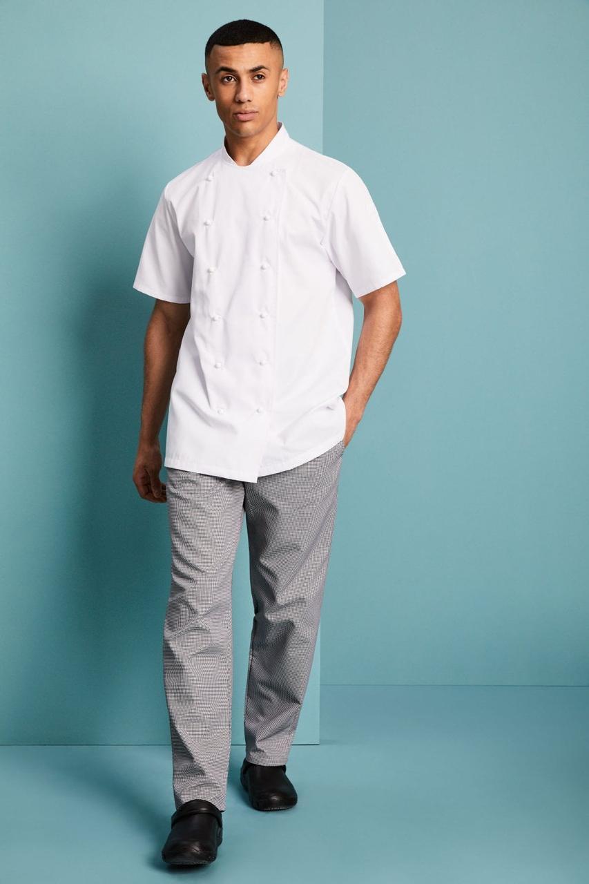 Форма повара (китель + брюки) китель мужской белый со штанами в клетку Atteks - 00989