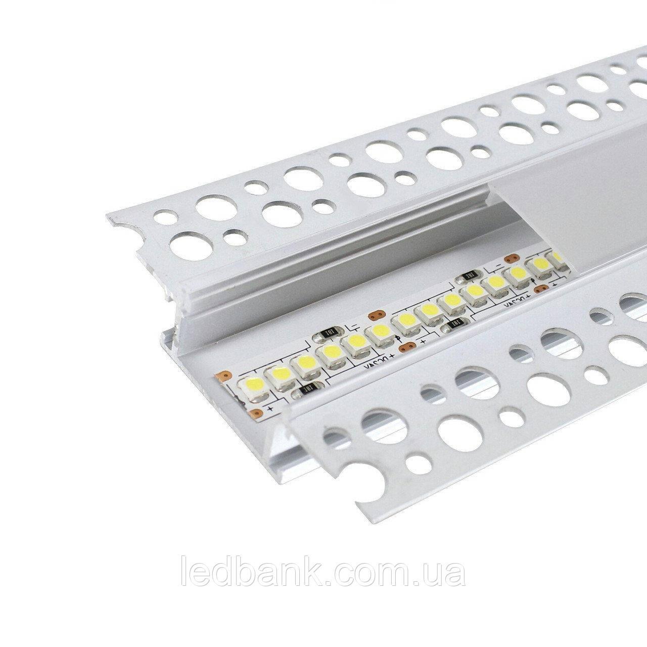 Профиль для светодиодной ленты встроенный под штукатурку и гипсокартон