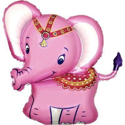 Фольгована кулька велика фігура Слоник рожевий 82х87см Flexmetal