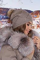 Шикарная женская шапка зимняя с помпоном в 3х цветах 6031