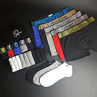 Набор Мужских трусов  Calvin Klein Modern 5 шт + набор носков 9 шт в подарочной упаковке
