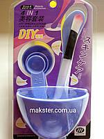 Косметологический набор (чаша + 3 мерные ложки + кисточка + шпатель)