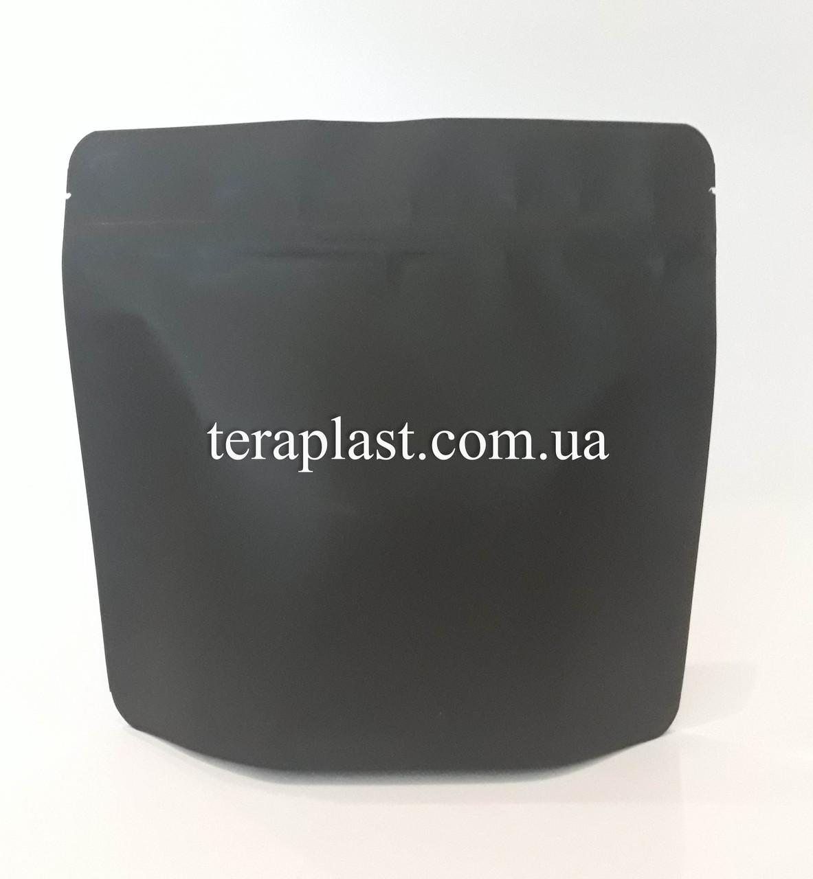 Дой-Пак 300г черный 200х190х36 зип с тактильным лаком