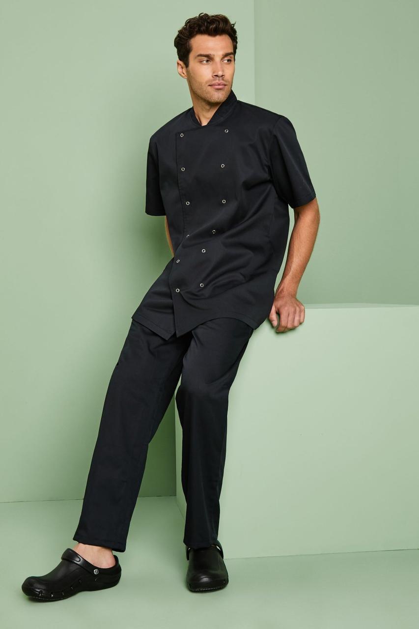 Форма повара (китель + брюки) китель мужской черный с черными штанами Atteks - 01000