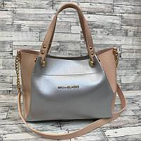Женская сумка мини - шоппер  (персиковый/серебро), фото 1