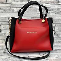 Женская сумка мини - шоппер  (черный/красный), фото 1