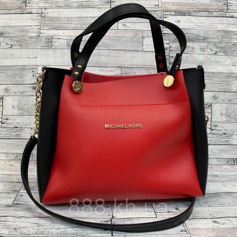 Женская сумка мини - шоппер  (черный/красный)