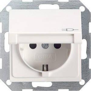 Gira 045401. Розетка с заземляющими контактами с крышкой System 55
