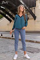 Свободная блузка с контрастными вставками, фото 2