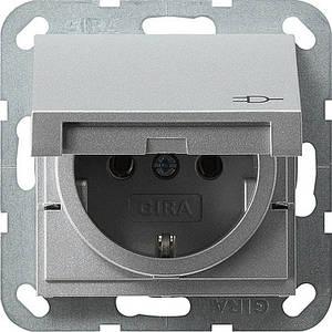 Gira 045426. Розетка с заземляющими контактами с крышкой System 55