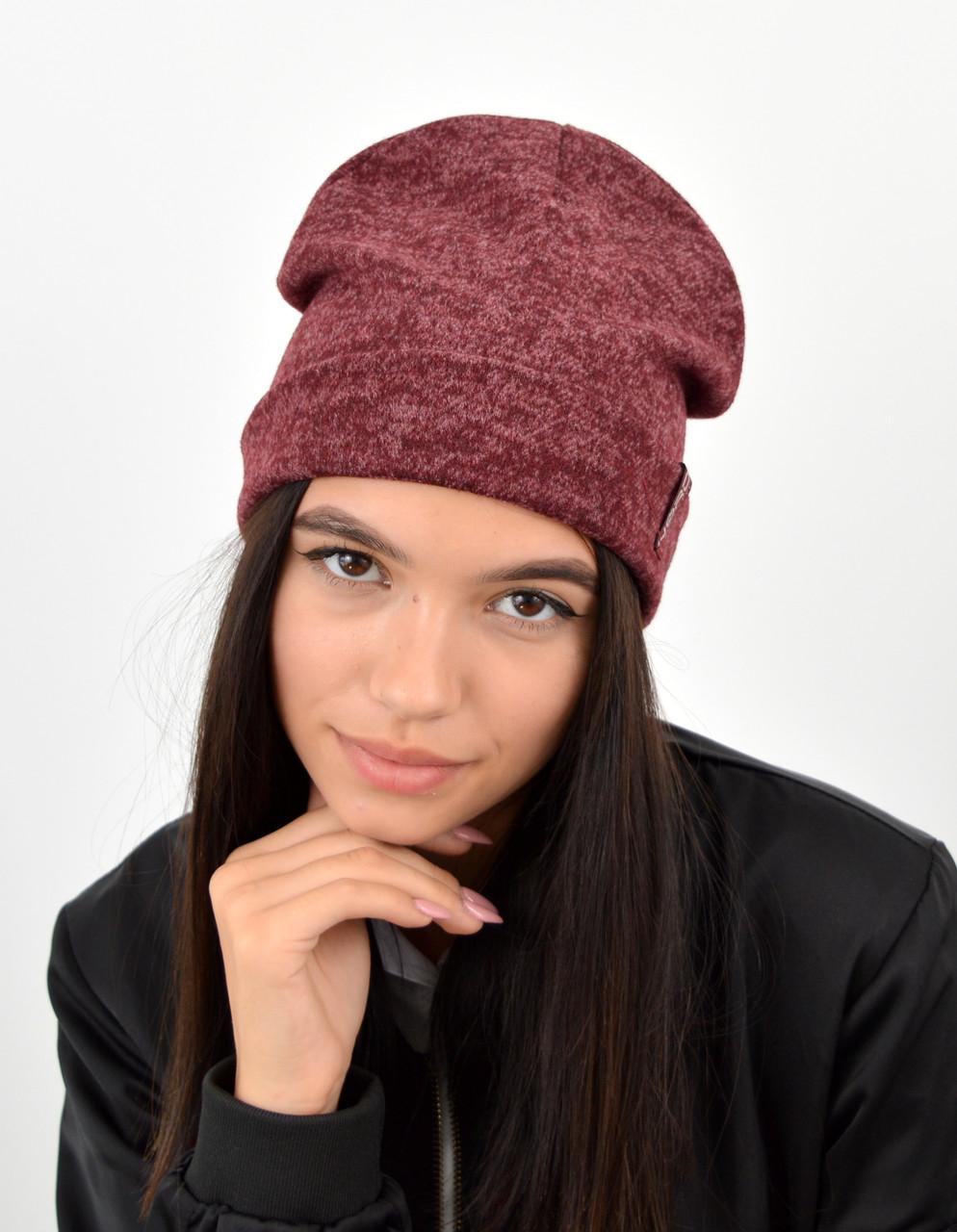 "Подростковая шапка ""Ангора меланж"" двойная бордо"