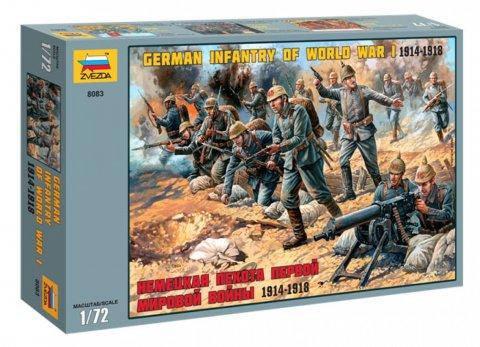 Немецкая пехота Первой мировой войны 1914-1918. Набор пластиковых фигур. 1/72 ZVEZDA 8083, фото 2