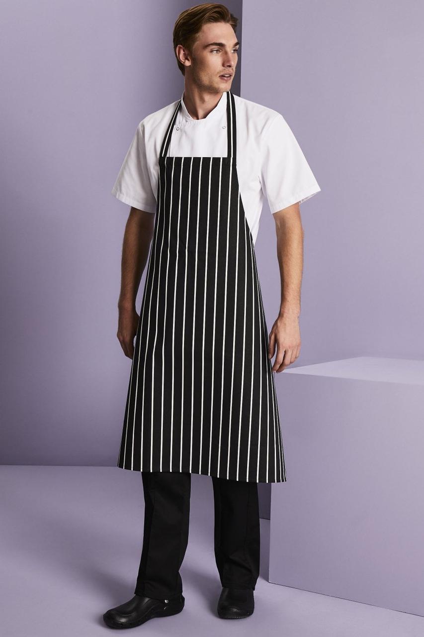 Форма повара (китель + брюки+фартук) китель мужской белый со штанами и фартуком в полоску Atteks - 01003 48