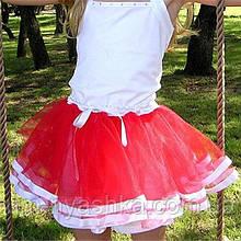 Юбка-пачка пышная юбочка балерины на 2-8 лет КРАСНЫЙ