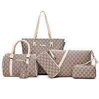 Элегантный набор женских сумок с рисунком из экокожи 6в1, фото 1